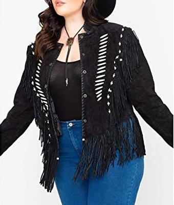 Bone Bead and Fringe Black Leather Jacket For Women