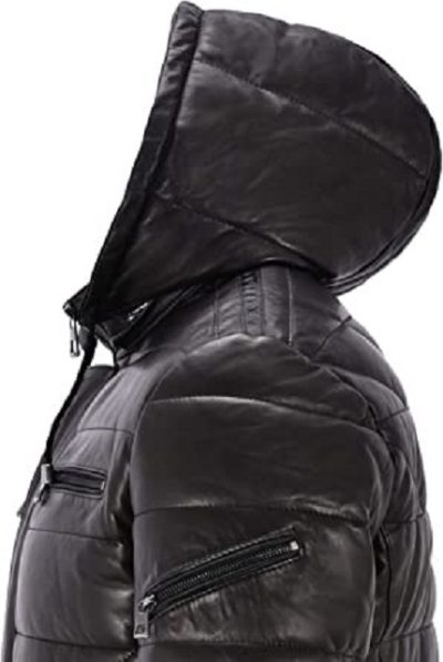 Mens Black Hooded Puffy Jacket
