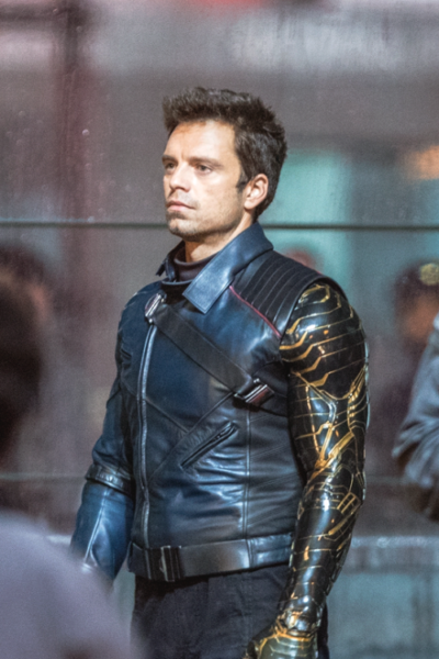 bucky barnes the falcon and the winter soldier sebastian stan blue leather jacket