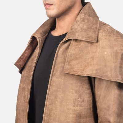 Classic brown leather jacket for men