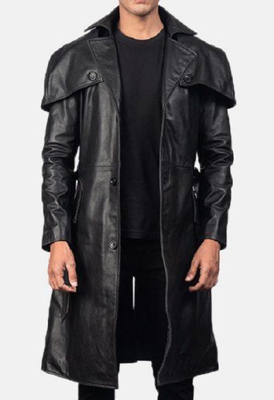 Deux Black Leather coat