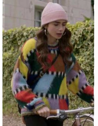 Lily Collins check box Sweater for women