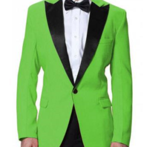 Apple green Men coat with black stripes