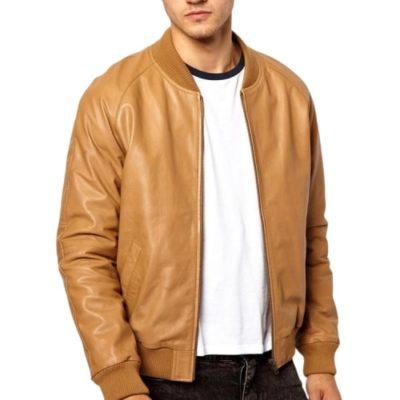 Men's Tan Brown Bomber Jacket