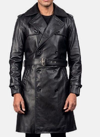 Royson Black Leather Duster jacket