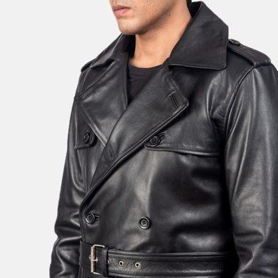 Men Royson Black Leather Duster Coat