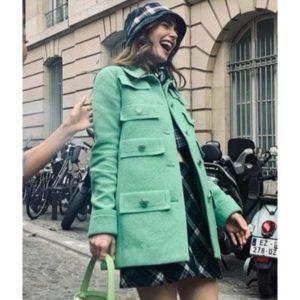 multi pocket green coat Lily Colin Emily