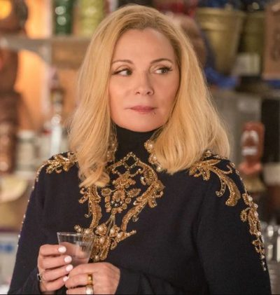 kim cattrall filthy rich margaret monreaux embroidery jumper
