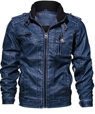 men denim leather jacket