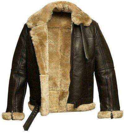 Flying Fur pilot brown leather jacket for Men