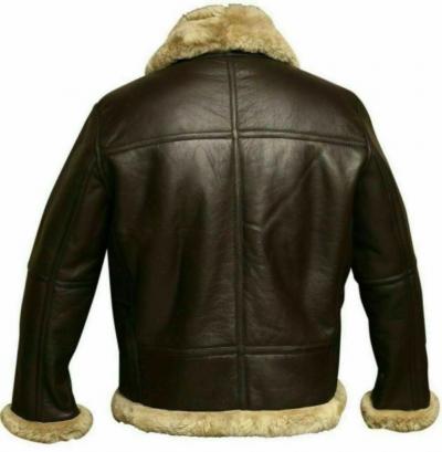 Fur aviator leather jacket