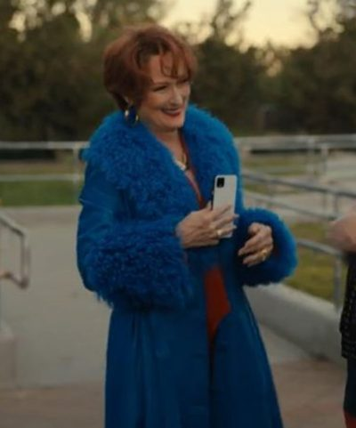 Meryl-Streep-The-Prom-Dee-Dee-Allen-Blue-Fur-Trench-Coat