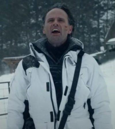 skinny man fatman walton goggins white coat