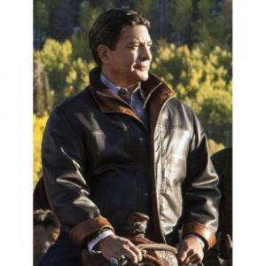 Gil-Birmingham-Yellowstone-Black-Leather-Jacket