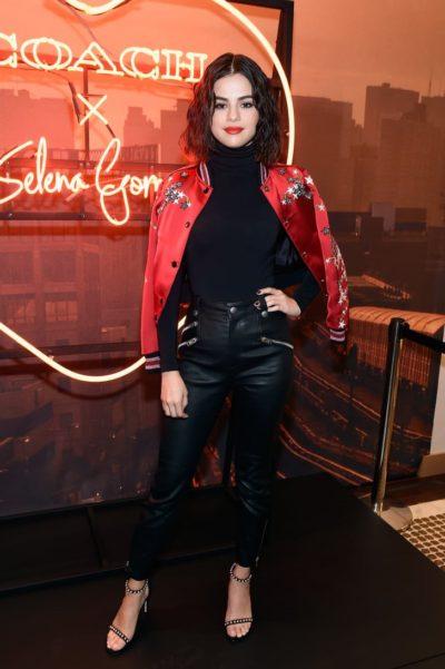 Selena Gomez Wearing Red Coach Varsity Jacket