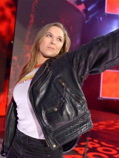 WWE-Ronda-Rousey-Black-Leather-Biker-Jacket