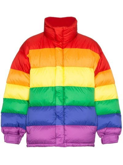 rainbow feather down puffer jacket