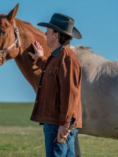 chris potter tv series heartland tim fleming suede brown leather jacket