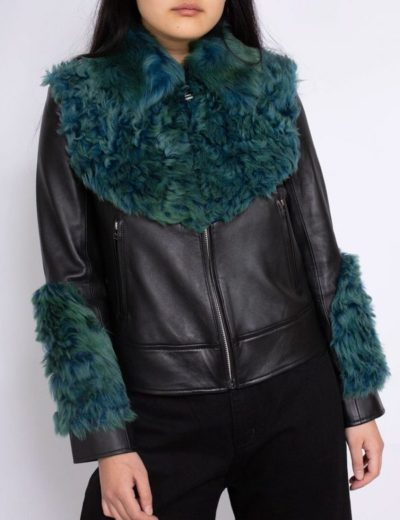 shearling aviator green fur leather jacket for women