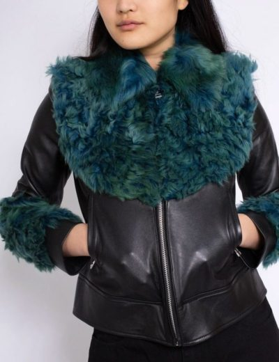 women's aviator green fur jacket