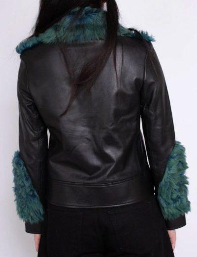 women's shearling aviator green fur jacket
