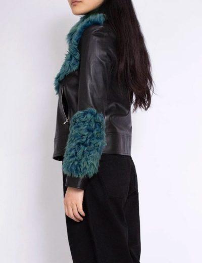 women's shearling aviator green fur leather jacket