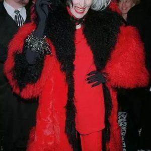 Cruella Deville Red And Black Fur Coat