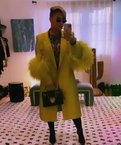 Demi Lovato Feathered Yellow Coat