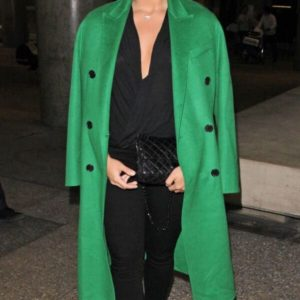 Demi Lovato Green Coat