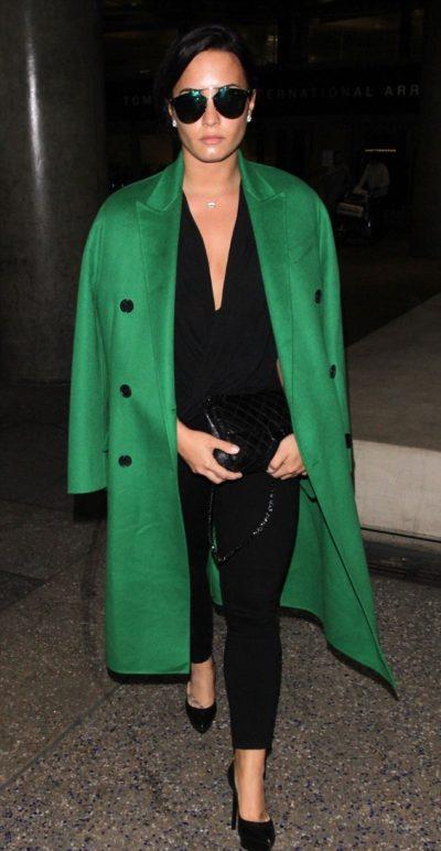 Demi Lovato Green Trench Coat