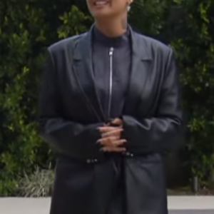 Demi Lovato Matte Black Coat