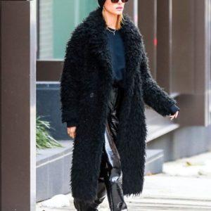 Hailey Bieber Black Long Coat