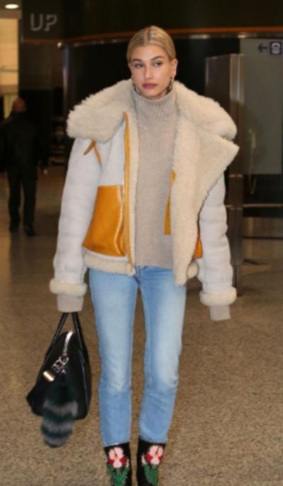 Hailey Bieber Fur Coat