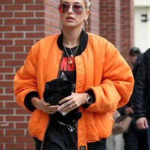 Hailey Bieber Orange Jacket