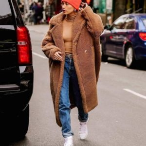 Hailey Bieber Oversize Teddy Coat