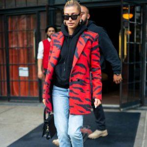 Hailey Bieber Red & Black Coat