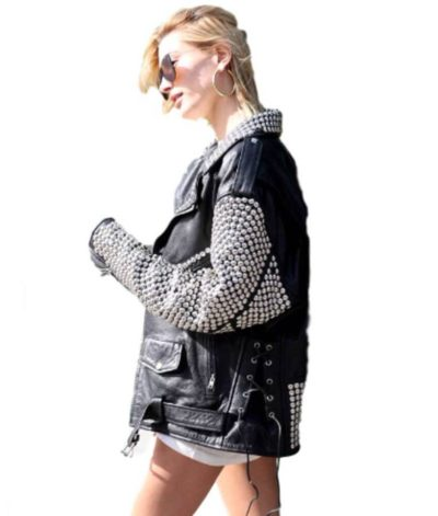 Hailey Bieber Silver Studded Jacket