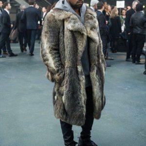 Kanye West Fur Brown Coat