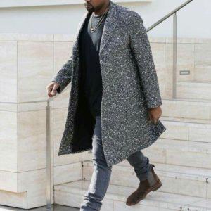 Kanye West Grey Trench Coat