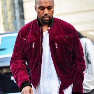 Kanye West Velvet Maroon Jacket