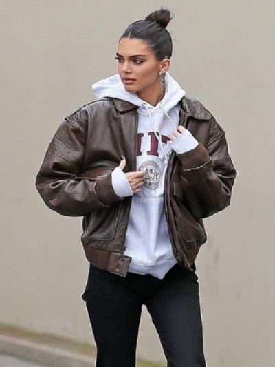 Kendall Jenner Bomber Leather Jacket