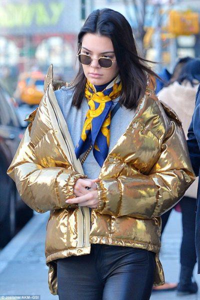 Kendall Jenner Golden Puffer Jacket