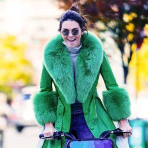 Kendall Jenner Green Fur Coat