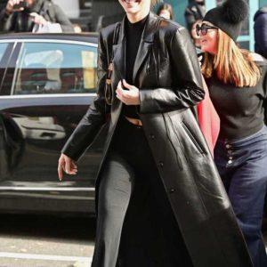 Kendall Nicole Jenner Black Leather Coat