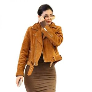Kylie Jenner Brown Suede Leather Jacket