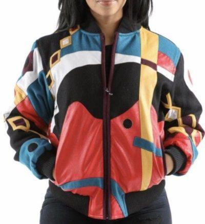 Ladies Pelle Pelle Wool Abstract Varsity Jacket
