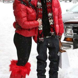 Mairah Carey Red Puffer Jacket