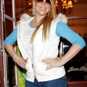 Mairah Carey White Puffer Vest