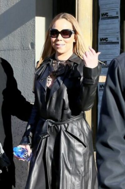 Mariah Carey Leather Trench Coat
