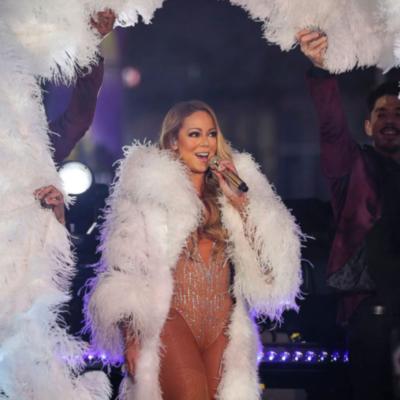 Mariah Carey White Fur Coat